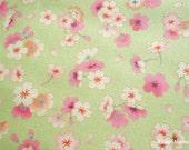 Japanese Kimono Fabric - Sakura on Green - Half Yard (ki151221)