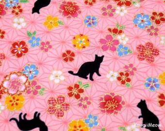 Beautiful Kimono Fabric - Asanoha Black Cat Sakura on Pink - Half Yard (ta160528)