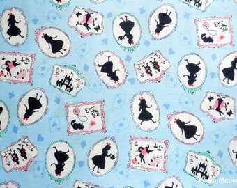 Japanese Fabric - Alice in Wonderland on Blue - Half Yard (nu160201)