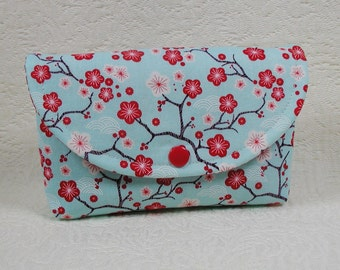 Snap Pouch, Large Snap Pouch, Accessory Pouch ...Cherry Blossom in Aqua