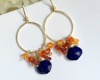 SUMMER SALE Gold Hoop Earrings with Colorful Gemstones Mexican Fire Opal Blue Lapis Wire Wrap 14kt Gold Fill Petite Hoop Earrings Boho Chic