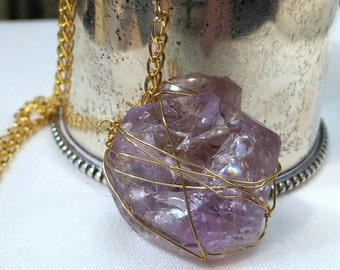 55% OFF SALE Amethyst Necklace Wire Wrap Caged Pendant Gold Fill Y Necklace Gold Lavender Gemstone Dangle Necklace Minimalist Jewelry Layeri