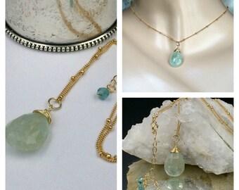 Aquamarine Pendant Aquamarine Briolette Choker Necklace Wire Wrap 14kt Gold Fill  Dangle Aqua Blue Pendant Gold Fill Chain Delicate Jewelry
