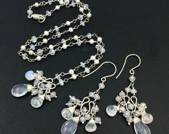 SALE Moonstone Pearl Wire Wrap Wedding Necklace Set Bridal Jewelry Sterling Silver White Choker Gemstone Cluster Pendant Boho Bride Beach We