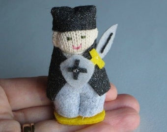 Knight  plush stuffed miniature knit figure fingerling