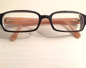 Chanel vintage pink and black rhinestone cc logo reading glasses