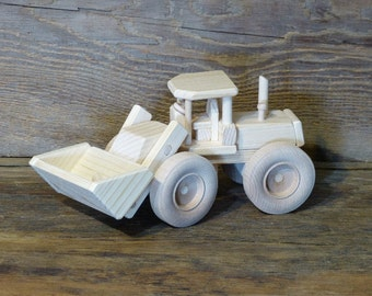 Handmade Wooden Toy Front End Loader Wood Construction vehicle toys