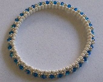 Blue Preciosa Crystals with White Superduos and Seed beads Bangle Bracelet by Carol Wilson of Je t'adorn