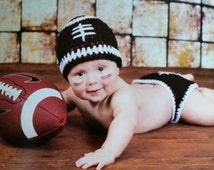 Crochet football Hat/Diaper Cover/Booties/Baby football 3 piece Set/Crochet football Set/Football Set /Hat/Diaper Cover/Booties(Ready to Shi
