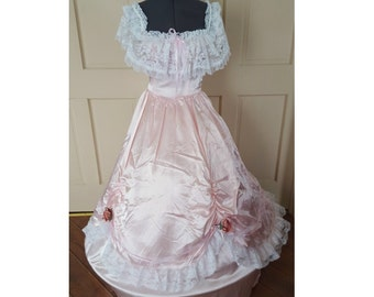 Gown dress Antebellum Pink Civil War Victorian masquerade ball style gown Belle Bo Peep Pink white lace