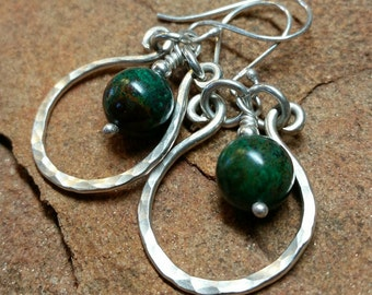 Green Turquoise Renaissance Earrings - Sterling Silver and Premium Peruvian Gemstones