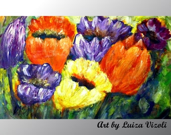 TULIPS Original Oil Painting Modern Whimsical Flowers Large Wall Decor by Luiza Vizoli 30x20