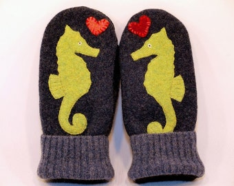 Seahorse Mittens Eco Friendly Upcycled Felted Wool in Dark Blue and Green with Seahorse Applique and Suede Palm  Size M