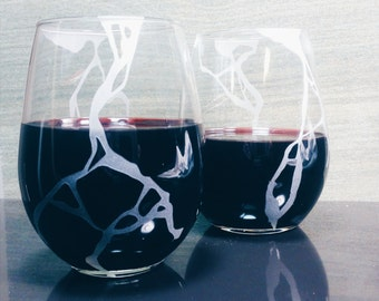 Kintsugi Wabi Sabi Etched Wine Glasses - Wedding- Anniversary - Housewarming - Closing Gifts
