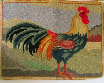 Vintage Hooked Rug with Colorful Rooster Floor Mat Rooster Rug Wool Hand made Hand hooked rug
