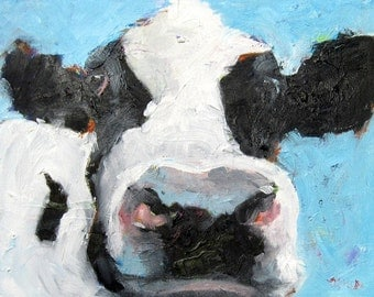 Black and White Cow Original Oil Painting - Farm Art - Cow Art