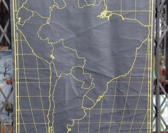 Vintage Chalk Outline School Map of South America Nystrom Roll Up Pull Down