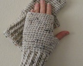 Crocheted Fingerless Gloves / Wrist Warmers - Natural Flecked