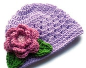ON SALE Crochet baby Hat, Baby Girl Beanie Hat with Flower and Leaves, Baby Girl Hat, Toddler Crochet Hat, Lavender, Rose Pink, Green, MADE