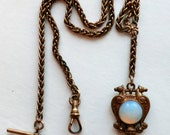 Antique Watch Chain Amazing Fob Griffin Figures Double Sided Fob Glass Moonstone T Bar Swivel Clasp