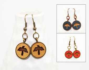 Crow in Flight - Dangle Earrings - Laser Engraved Wood (Choose Your Color)