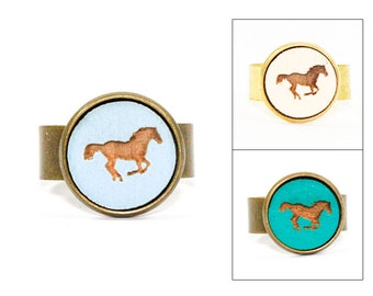 Horse Ring - Animal Jewelry - Laser Cut Engraved Wood in Adjustable Setting (Choose Your Color / Made To Order)
