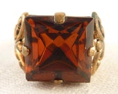 Antique Size 8 West German Brass and Square Cut Topaz Glass Ring