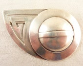 Large Vintage Handmade Deco Sterling Abstract Brooch