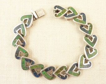 SALE ---- VintageLos Castillo Mexican Sterling  Mosaico Azteca Malachite and Azurite Stone Heart Shape Link Bracelet