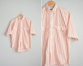 Size M/L // PEACH STRIPED OXFORD // Short Sleeve Button-Up Shirt - Levi's Silver Label - Vintage '80s.