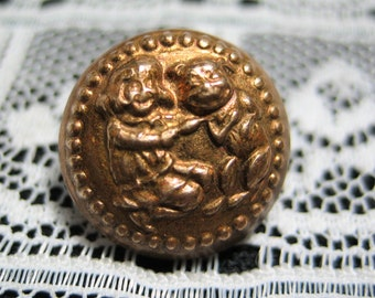 Old Buster Brown & Tige Collectible Brass Picture Button NBS Small