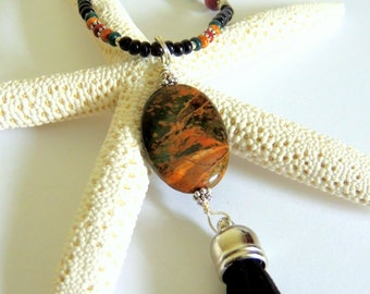 Tassel Necklace, Red Creek Jasper and Sandalwood, Long Necklace, Gemstone Jewelry, Handcrafted Jewelry, Jasper Necklace, Rust and Green