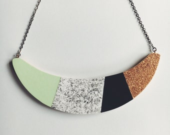 Statement Necklace  - 'Party' - glitter, navy, mint green, speckles