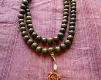 Green wooden bead mala