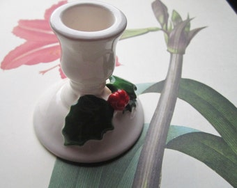 Vintage Lillian Vernon Holiday Candle Holder * Boxed Holly Ceramic * 1970's Seasonal Lillian Vernon