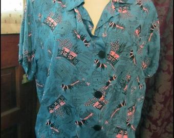 Outstanding Three Piece Pajama Set Rare Vintage 1950's