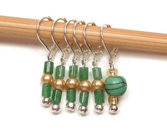 Removable Stitch Markers Crochet Row Markers Green Gold Locking Knitting Supplies DIY Crafts