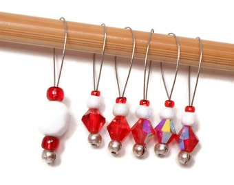 Knitting Stitch Markers Set, Snag Free, DIY Knitting Tools, Red, White, Gift for Knitter, Craft Supplies, TJBdesigns