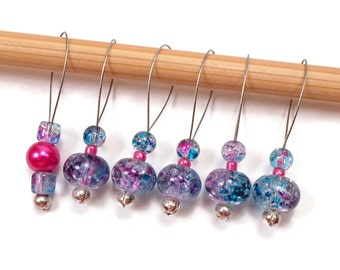Knitting Stitch Markers Snagless Blue Hot Pink Knitting Tools Beaded Gift for Knitter Snag Free Knitting Supplies DIY Knitting