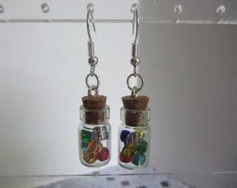 """3/4"""" Long Glass Bottle Filled w. Asst. Seed Beads Fashion Pierced Dangle Earrings"""