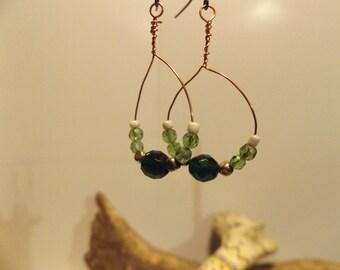 Emerald Green Czech Bead, Copper Hoop Earrings, Czech Fire Polished Bead, Emerald Green, Healing Jewelry