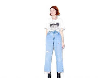 OMG HALF OFF Levis Jeans ripped jeans boyfriend jeans size large high waisted jeans mom jeans ripped jeans cropped jeans distressed jeans