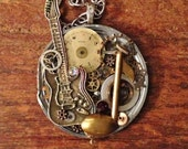 Musician pocket watch Music Note Guitar Steampunk Necklace