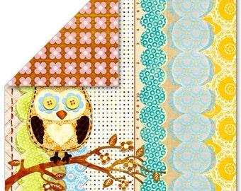 Sassafras Lass 12x12 double-sided scrapbook paper (Owl)
