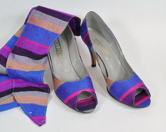 1980s Raw Silk Stripe Peep Toe Pumps with Matching Belt - 8-1/2 N