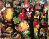Abstract expressionist painting, original art, modern painting, red, yellow, black, green, canvas artwork, Russ Potak