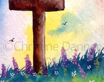 Original Art Cross & Wildflowers Religious ACEO Painting