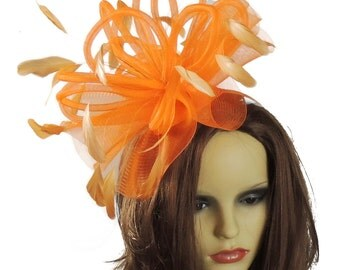 Orange Black Velvet Fascinator Hat for Weddings, Races, and Special Events With Headband