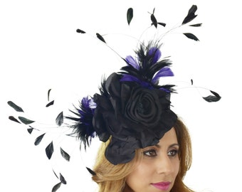 Royal Blue Black Ascot D Fascinator Hat for Kentucky Derby, Weddings & Proms