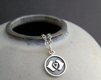 """tiny silver third eye chakra necklace small yoga charm sterling silver pendant simple zen dainty delicate everyday jewelry sixth 6th 3/8"""""""